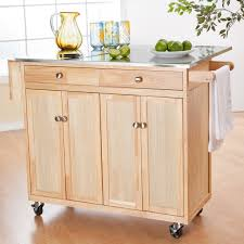 Wheeled Kitchen Islands Unvarnished Wooden Portable Kitchen Island On Wheels With Silver