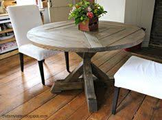 diy round kitchen table round industrial chic dining table in reclaimed timber with steel