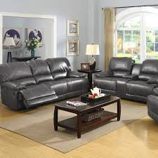 Grey Reclining Sofa Badcock More Prescott Grey Leather Reclining Sofa Console