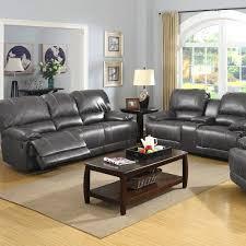 Grey Recliner Sofa Badcock More Prescott Grey Leather Reclining Sofa Console