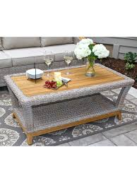 wicker coffee table with teak top for outdoor or indoor use