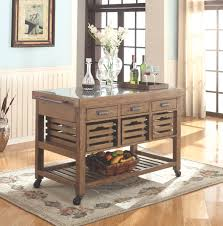 antique kitchen island with stainless steel top and casters