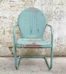Antique Metal Patio Chairs Retro Metal Lawn Chair Teal Rustic Vintage Porch Furniture Metal