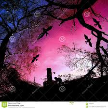 scary halloween background with silhouettes of tre stock vector