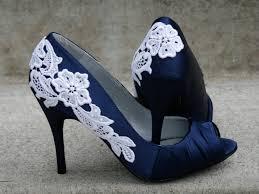 navy blue shoes with venise lace applique size 7 69 00 via