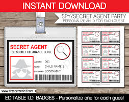 secret agent badge template card birthday spy and badges