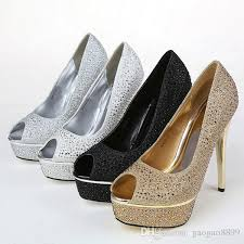 Wedding Shoes Peep Toe Crystal Rhinestone Gold Wedding Dress Silver Shoes Open Peep Toe