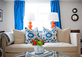 blue and orange decor cobalt blue curtains contemporary living room jessica kelly design