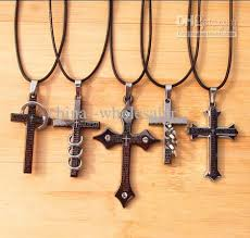 mens cross necklace pendant images Wholesale new leather cord titanium stainless steel bible cross jpg