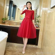 in stock cheap burgundy red short prom dresses 2016 half sleeves
