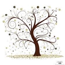 curly tree design vector outlines self care and trees