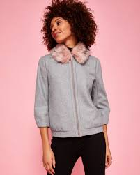 light pink wool coat perfect ted baker robley wool faux fur bomber jacket women ted