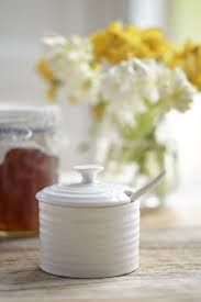 white porcelain condiment pot with spoon sophie conran shop