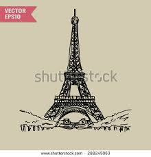 vector sketch eiffel tower on black stock vector 527612767