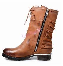 ebay womens leather boots size 9 womens brown leather fleece lined flat boho zip up ankle
