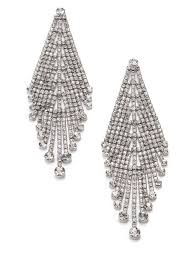 rhinestone earrings lyst abs by allen schwartz draped rhinestone earrings in metallic