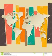 Vector World Map Vector World Map Paper 3d Retro Stock Vector Image 39896938