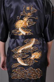 silk home men s satin silk home robe embroidery kimono