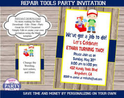 handy man repair boy fill blank birthday invitation