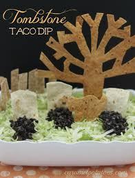 make your own halloween tombstone caramel potatoes tombstone taco dip