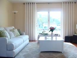 Gray Color For Living Room Decoration Window Treatment With Window Drapes And Glass Windows