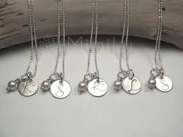 sterling silver wedding gifts personalized bridesmaids gifts bridesmaids initial necklaces
