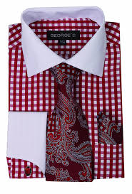 george u0027s small check fashion shirt with matching tie hankie and