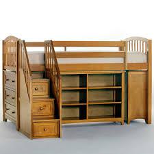bedroom oak wooden loft bed with storage ladder and book rack