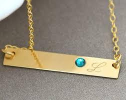Birthstone Name Necklace Birthstone Bar Necklace Personalized Birthstone Necklace