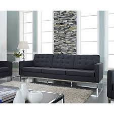 Charcoal Sofa Bed Swanky Modern Three Seat Vinyl Tufted Back Charcoal Sofa Feat