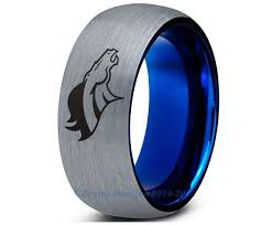 denver wedding band denver broncos blue tungsten wedding band ring mens womens brushed