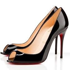 christian louboutin 85 patent leather peep toes black