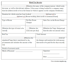 hotel tax invoice template invoice templates