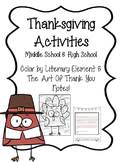 thanksgiving activity for middle school and high school tpt