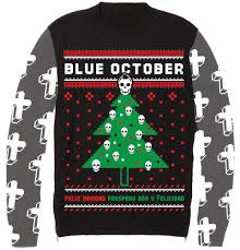 christmas sweater blue october christmas sweater bandwear