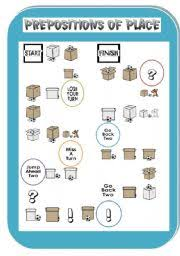 esl kids worksheets prepositions of place board game