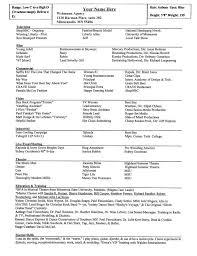 Entertainment Resume Template Actor Resume Special Skills