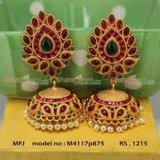 kempu earrings mat finish kempu stones jumki online jhumuka