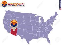 us map arizona state arizona state on usa map arizona flag and map us states royalty