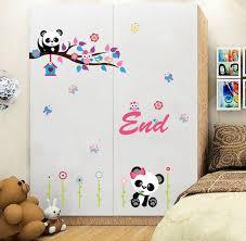 Cute Home Decor Cartoon Cute Panda And Bamboo Wall Art Mural Poster Sticker Home