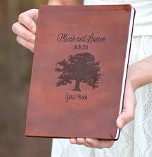 engravable guest book leather engraved oak tree book wedding guest book