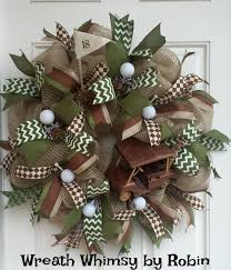 burlap mesh golf themed year round sports wreath with brown and