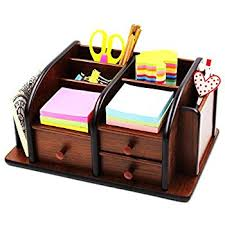 Wood Desk Accessories And Organizers Amazon Com Mygift Wood Office Supplies Organizer With 3 Drawers
