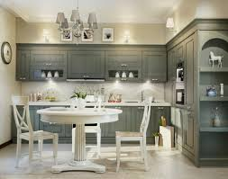kitchen traditional grey theme cabinets and chandelier with