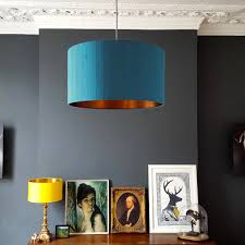 brushed copper lined lampshades for ceiling pendants and lamps