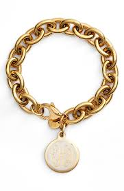 Monogrammed Cuff Bracelet This Gold Chain Link Bracelet Looks Especially Timeless With Its