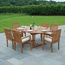 6 Seat Patio Table And Chairs Classic Extendable Dining Set Six Seat Teak Garden Furniture