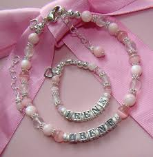 personalized name bracelets and soft pink gems personalized name bracelets