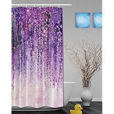 Purple Floral Curtains Printing Decor Collection Landscape Purple