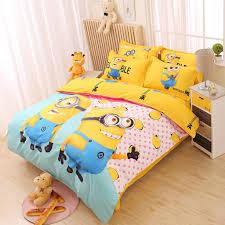 cartoon bedding set 4pcs printing cama minions bedclothes duvet